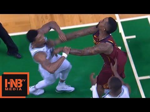 Marcus Smart & JR Smith skirmish, double technical, JR flagrant foul / Celtics vs Cavaliers Game 2