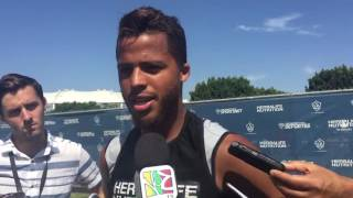 Giovani dos Santos discuses the game agains the Seattle Sounders after training on Friday before a Sunday match. Video courtesy of Chandrima Chatterjee.