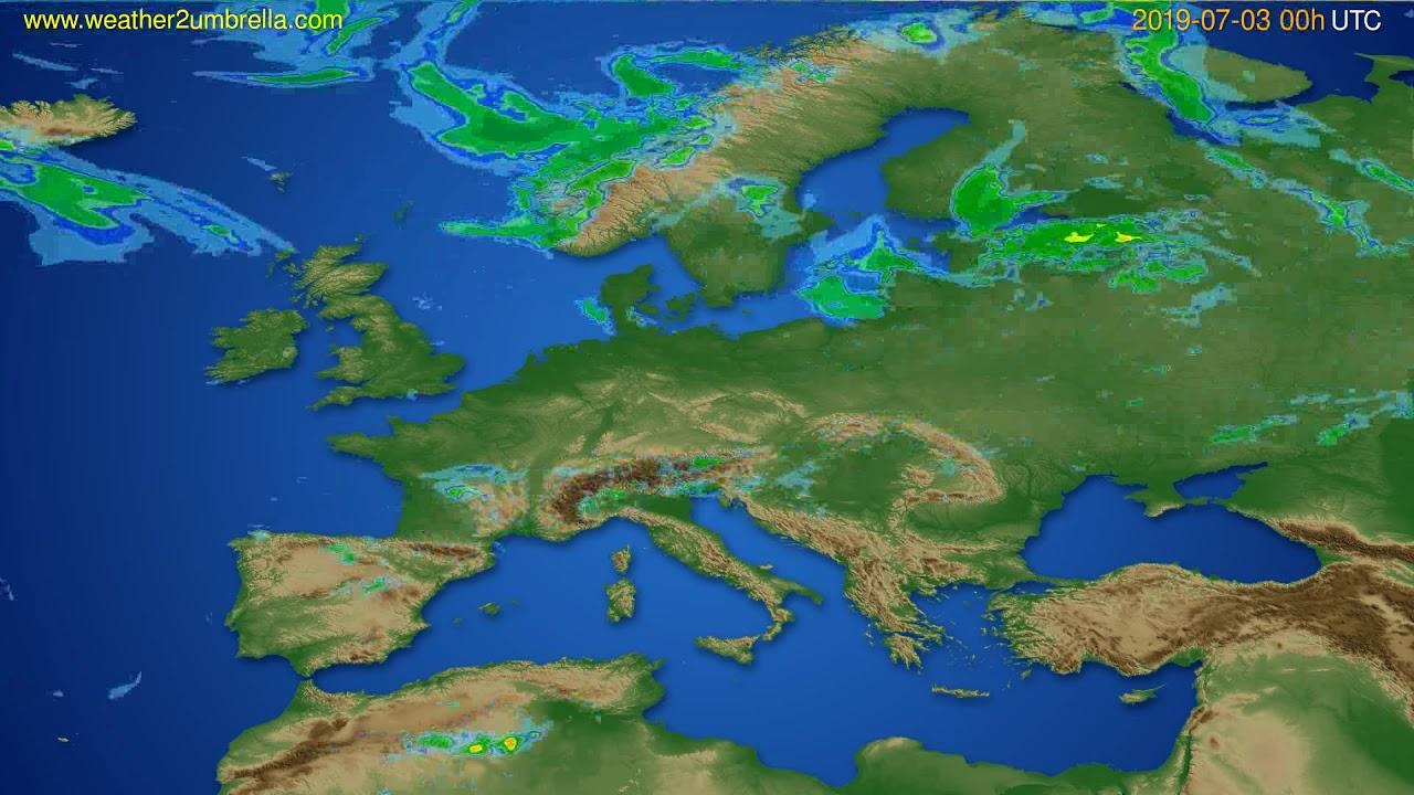 Radar forecast Europe // modelrun: 12h UTC 2019-07-02