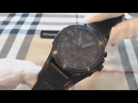 , title : 'Men's Fossil Nate Chronograph Black Leather Cuff Watch JR1510'