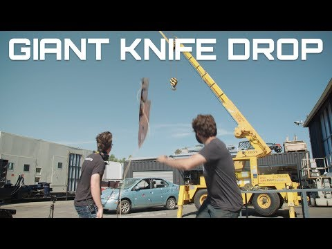 Dropping a Giant 10Foot Long 500Pound Knife From a 40Foot Crane Onto a