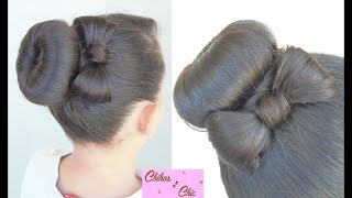 Hairstyle Donut Bun Bow!! | Updo Hairstyles | hair style with bow | Cute Girly Hairstyles