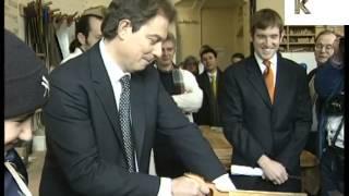1997 London, Tony Blair In Woodshop, Archive Footage, UK Politics