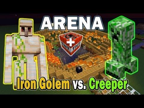 Minecraft Arena Battle Iron Golem vs. Creeper