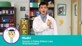 Makerspace Safety with Hadrian: Wear those Safety Glasses!