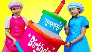Jannie & Emma Pretend Play Baking Super Giant Birthday Cake Food Toy