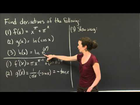 Log and Exponent Derivatives | MIT 18.01SC Single Variable Calculus, Fall 2010