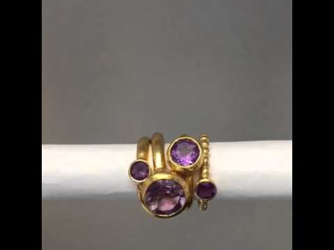 Amethyst rings. Behrianna Rings, Odile Ring and Attis Ring