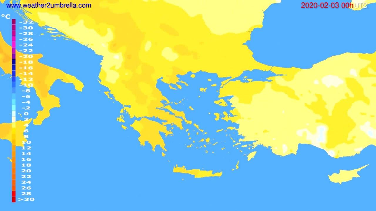 Temperature forecast Greece // modelrun: 00h UTC 2020-02-02