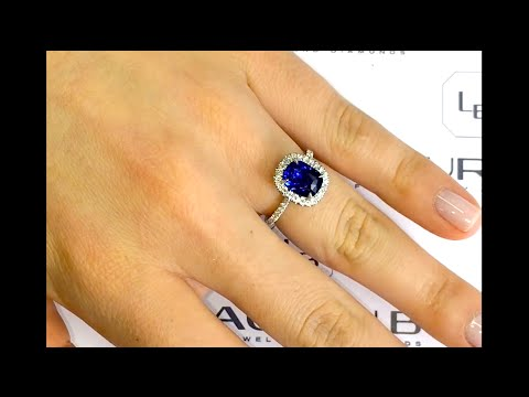 2.50 ct Sapphire Halo Engagement Ring