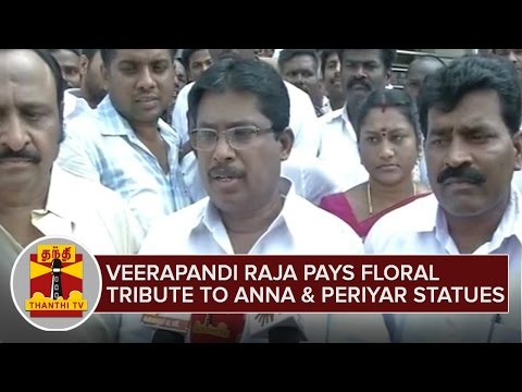 Veerapandi-Raja-pays-Floral-Tribute-to-Anna-and-Periyar-Statues--Thanthi-TV