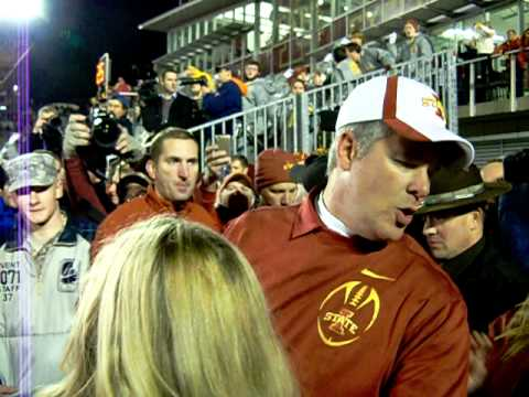 Paul Rhoads - Coach Paul Rhoads congratulates team after win against #2 Oklahoma State University 11/18/2011.