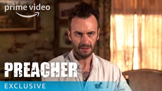 """Have you watched Preacher Season 2 Episode 5 yet? Take a behind the scenes look at the fifth episode with the cast.» SUBSCRIBE: http://bit.ly/AmazonPrimeVideoSubscribe» Watch Preacher on Amazon Prime Video: http://bit.ly/AmazonPrimeVideoPreacherAbout Preacher:Starring Dominic Cooper and based on the popular, cult comic book franchise, """"Preacher"""" is a supernatural, twisted and darkly comedic drama that follows a West Texas preacher named Jesse Custer, who is inhabited by a mysterious entity that causes him to develop a highly unusual power.Get More Amazon Prime Video: Watch More: http://bit.ly/WatchAmazonPrimeVideoNowFacebook: http://bit.ly/AmazonPrimeVideoFacebookTwitter: http://bit.ly/AmazonPrimeVideoTwitterInstagram: http://bit.ly/AmazonPrimeVideoInstagramTumblr: http://bit.ly/AmazonPrimeVideoTumblrAbout Amazon Prime Video:Want to watch it now? We've got it. This week's newest movies, last night's TV shows, classic favorites, and more are available to stream instantly, plus all your videos are stored in Your Video Library. Over 150,000 movies and TV episodes, including thousands for Amazon Prime members at no additional cost.Preacher Season 2 Episode 5 - Behind the Scenes  Amazon Prime Videohttps://youtu.be/wh6RtUZlJTQAmazon Prime Videohttps://www.youtube.com/c/amazonvideouk"""