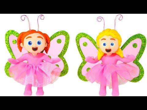 LITTLE PRINCESS WEARING A BUTTERFLY COSTUME ❤ SUPERHERO PLAY DOH CARTOONS FOR KIDS