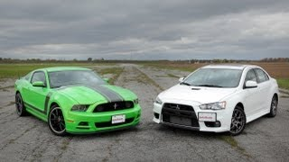 2013 Ford Mustang Boss 302 vs. 2013 Mitsubishi Lancer Evolution MR
