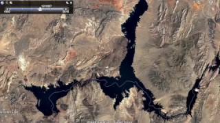 """A new feature of Google Earth is """"Historical Imagery"""". It's pretty interesting to see the landscape change. This is Lake Mead between 1984 and 2016."""