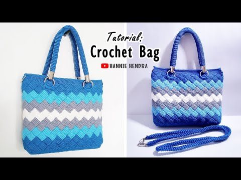 Crochet Bag || Tutorial Tas Rajut Motif Entrelac - Tunisian Stitch