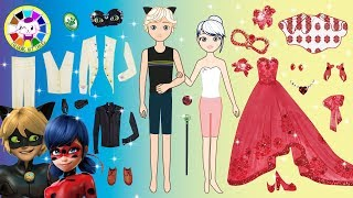 Paper Dolls Miraculous Ladybug and Cat Noir make up and dress up like Masquerade homemade craft