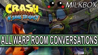 A showcase showing all the warp room conversations in the warp room in the Crash Bandicoot N. Sane Trilogy. This part of the game is from Crash Bandicoot Warped, and the conversations show case all of those between Coco, Cortex and N. Biro. Want 12 Months of PlayStation Plus with Amazon? http://amzn.to/2nE0LDb (Affiliate Link) (U.S.)http://amzn.to/2nXmamY (Affiliate Link) (U.K.)------------------------------------------------------------------------------------------Are you a YouTube content creator? Click the link to apply for a Curse Partnership: ► https://www.unionforgamers.com/apply?referral=4hw6r7lzcccabp (Affiliate Link)------------------------------------------------------------------------------------------Subscribe to the milkiest channel on the Internet! 。◕ ‿ ◕。►https://www.youtube.com/channel/UCPH28MUR1-Ko5tRQuJf3zmw------------------------------------------------------------------------------------------Social Media!►https://twitter.com/The_Milkbox (Twitter)►http://supermilkbox.tumblr.com/ (Tumblr)►https://www.facebook.com/Super-Milkbox-1380643578903590/?ref=hl (Facebook)------------------------------------------------------------------------------------------Any comments? Just drop them! I reply pretty quick. ------------------------------------------------------------------------------------------Credits:Music that may have been used in this production is provided by Kevin Macleod of incompetech.com