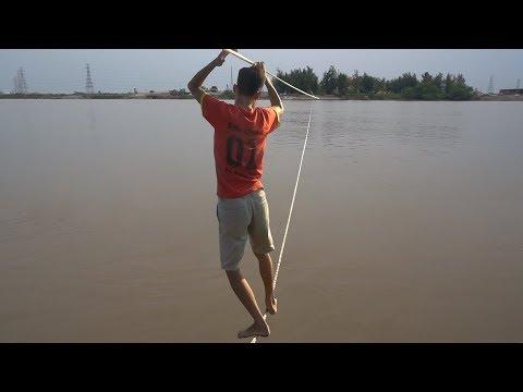 NTN - Thử Thách Đi Trên Dây Qua Sông (Walking across the river on a rope challenge) - Thời lượng: 14:29.