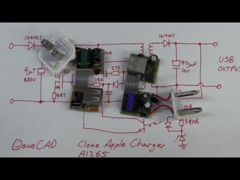 Charger - Teardown Tuesday. What is inside a fake clone A1265 Apple USB charger? WARNING: These fakes and cheap no-name chargers are DANGEROUS. If you have one, throw ...