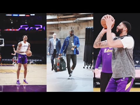 Lakers pre game warm up at staple center with Anthony Davis and Demarcus Cousin Lakers vs cavaliers