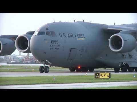 C. - This C-17 landed at the small commuter airport (TPF - Peter O'Knight airport) just south of downtown on Davis Islands, in Tampa instead of Mac Dill AFB. The ...