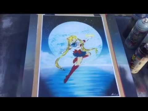 Sailor Moon Spray Paint Art (видео)