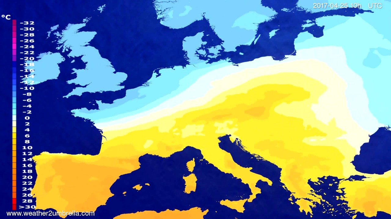Temperature forecast Europe 2017-04-23