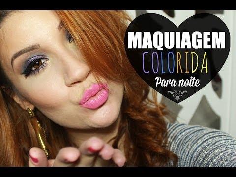 Maquiagem colorida chique para noite