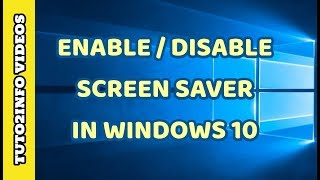 """In this video tutorial of """"How to Enable or Disable Screen Saver In Windows 10"""" i will show you very quick way of enabling and disabling screen saver in windows 10 for free..."""