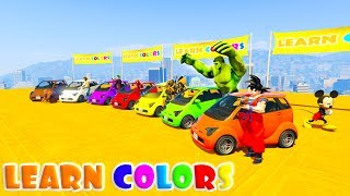 New Challenge with superheroes for babies. Colored Small Cars and same color superheroes funny tricks and stunts for babies.