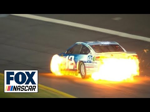 Ryan Blaney's car bursts into flames | 2018 CHARLOTTE | NASCAR on FOX