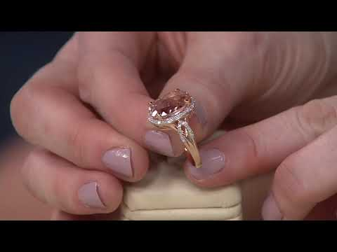 Oval Morganite and Diamond Ring, 14K Gold 5.00 ct on QVC