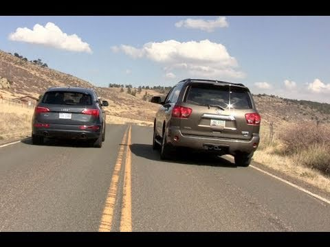 2011 Audi Q5 vs Toyota Sequoia mashup drag race review
