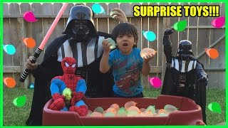 Ryan and Daddy SURPRISE TOYS CHALLENGE with Water Balloons