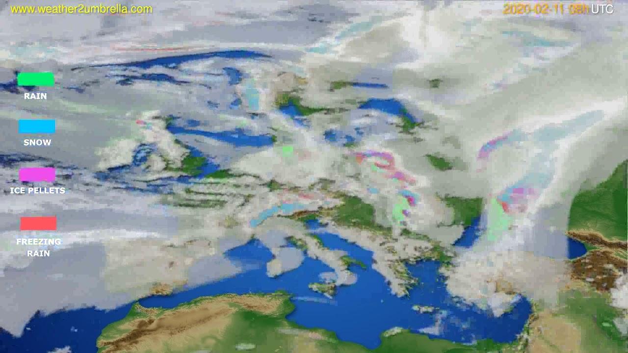 Precipitation forecast Europe // modelrun: 12h UTC 2020-02-10