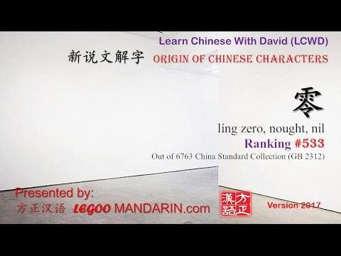 Origin of Chinese Characters -0533 零 líng zero, nought, nil