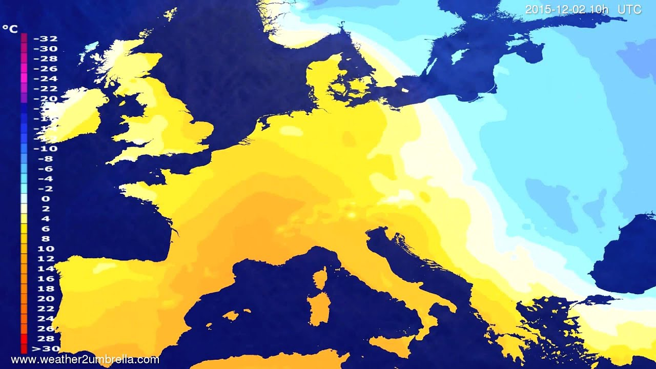 Temperature forecast Europe 2015-11-30