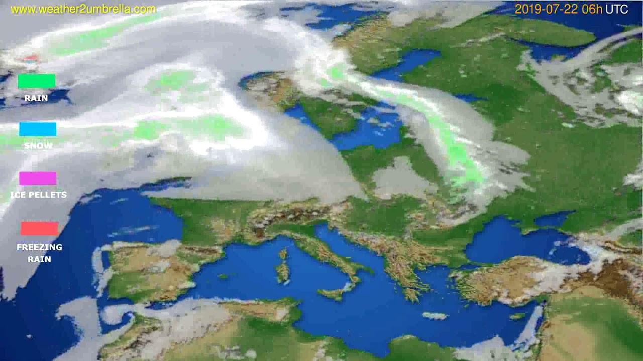 Precipitation forecast Europe // modelrun: 12h UTC 2019-07-19