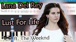 How To Play Lana Del Rey - Lust For Life ft. The Weeknd [Piano Tutorial  Sheets  MIDI] Synthesia MIDI: ...