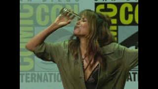 "At the Comic-Con panel discussion for ""Kingsman: The Golden Circle"" actress Halle Berry appears to drink a half pint of whiskey. (July 21)Subscribe for more Breaking News: http://smarturl.it/AssociatedPress