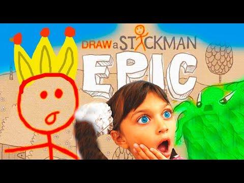 ПРИКЛЮЧЕНИЕ маленького СТИКМЕНА ВЕСЕЛАЯ ИГРА как мультик детский летсплей Stickman Epic 1 Валеришка