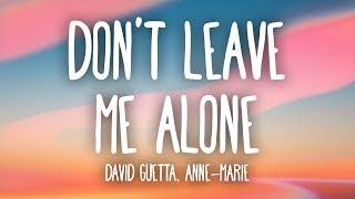 David Guetta, Anne-Marie - Don't Leave Me Alone (Lyrics)
