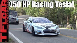 Ludicrous Race Car Tesla Model S P90D takes on the Pikes Peak Hill Climb by The Fast Lane Car