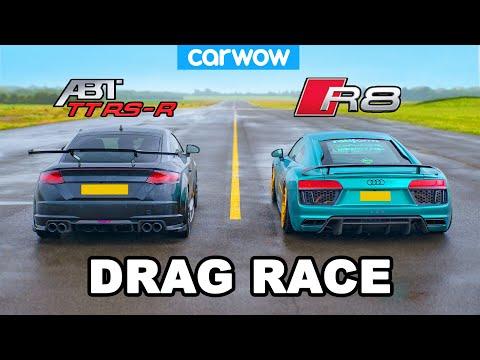 Audi R8 vs TT RS-R: Drag Race *V10 vs ABT-tuned 5cyl*