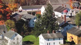 Canterbury Shaker Village, New Hampshire in High Definition from the air.