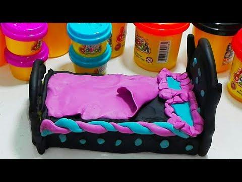 العاب عجين الصلصال  : عمل سرير بعجين الصلصال  والمفرش والمخده : العاب اطفال