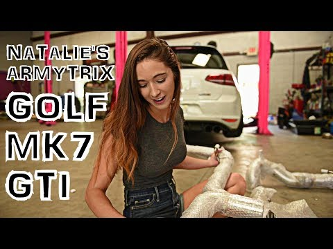 Natalie Roush And Her Gorgeous ARMYTRIX VW GOLF MK7 GTI - Exhaust Unboxing, Reaction & Sounds!