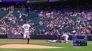 Jon Gray spins and quickly throws to Mark Reynolds, who tags out Manuel Margot leaning off first base Check out...
